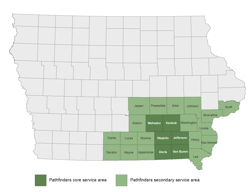 PATHFINDERS RC&D SERVES A SIX-COUNTY AREA BUT OFFERS ITS SERVICES THROUGHOUT SOUTHEAST IOWA.